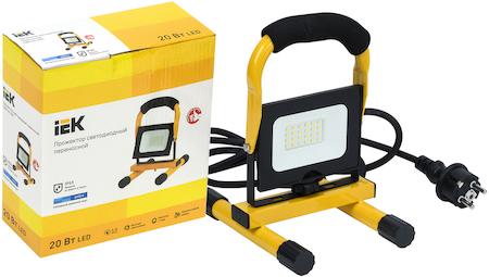 Фото Прожектор светодиодный СДО 06-20П переносной 6500К IP65 черный IEK